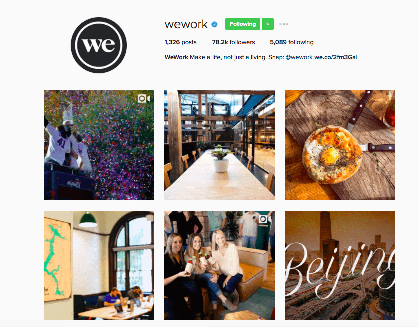 Best Brands on Instagram - WeWork's Instagram Feed