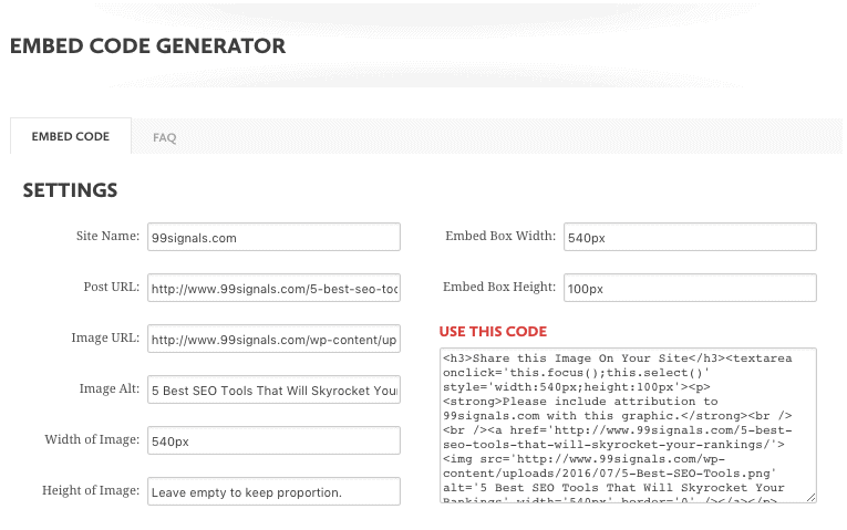 Siege Media Embed Code Generator - Every time someone includes your infographic in their content, you get an attribution. And just like that, you get a high-quality backlink.