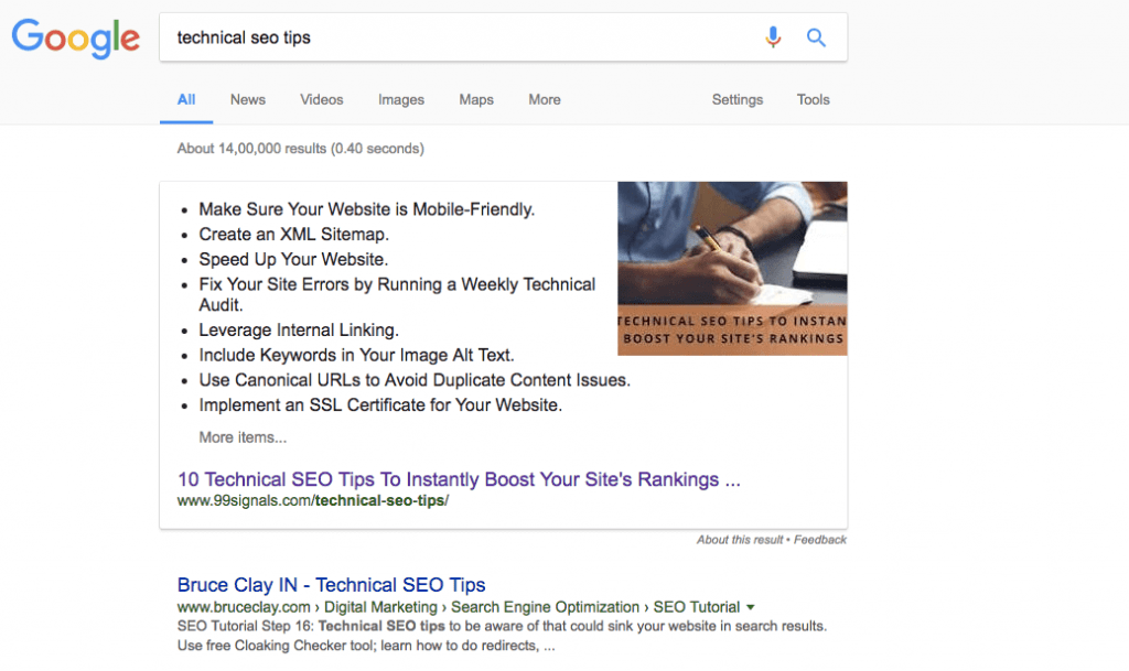 "How to Rank in Google's Featured Snippets (aka Position 0 on Google) - ""Technical SEO Tips"""