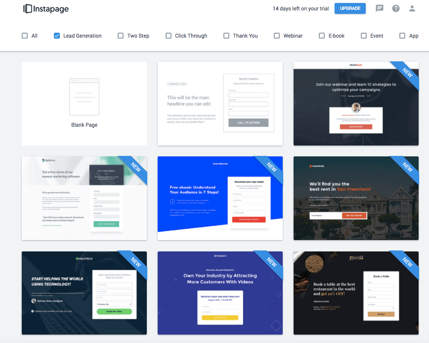 Instapage Review: Landing Page Templates