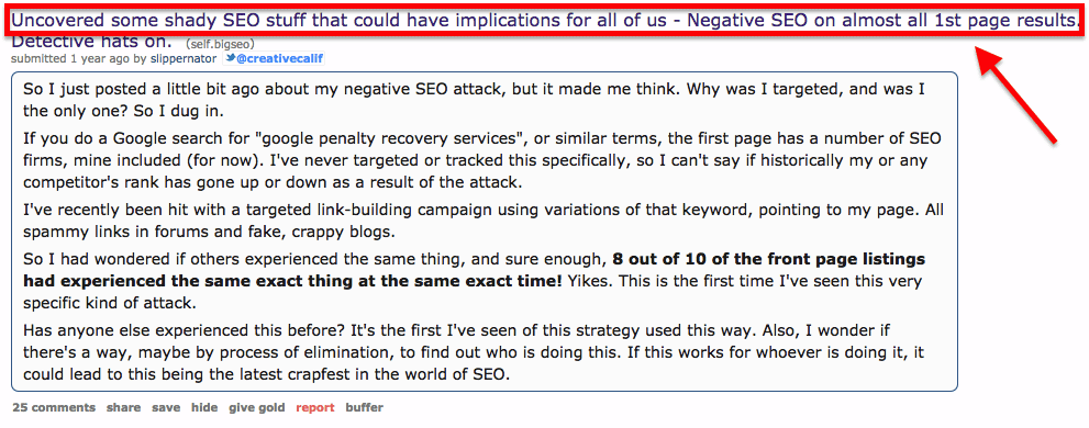 Negative SEO Reddit