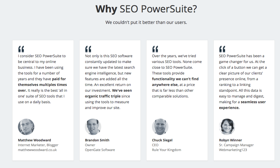 SEO PowerSuite Testimonials