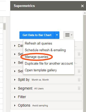 Supermetrics - manage queries