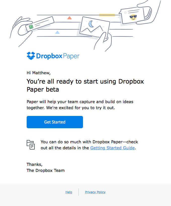 Dropbox Email Example - Short and Concise Email Copy