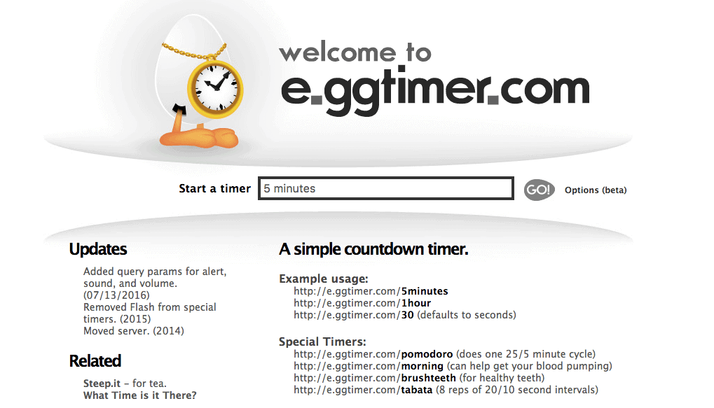 E.ggtimer is a simple countdown timer to help you complete your tasks.