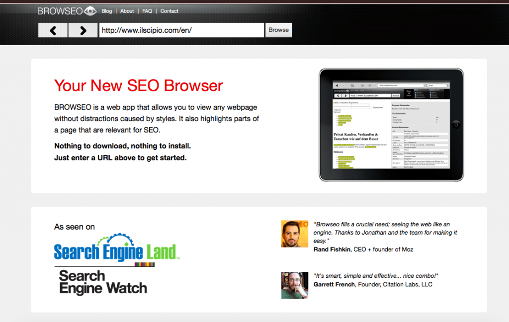 Best Free SEO Tools: Browseo lets you see your website as search engines see it by focusing purely on the HTML aspect of a page.