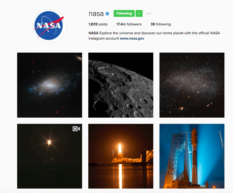Best Instagram Brands - NASA