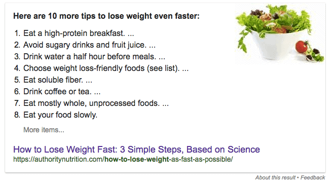 "How to Rank in Google's Featured Snippets (aka Position 0 on Google) - ""How to Lose Weight"""