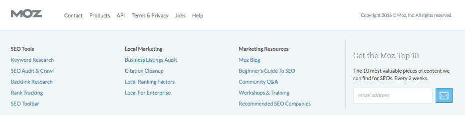 Moz Footer - On-Page SEO Techniques