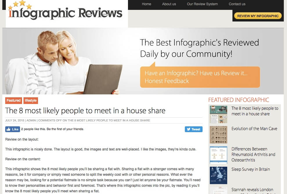 Infographic Submission Sites: Infographics Reviews is a site where you can submit infographics and also get them reviewed.