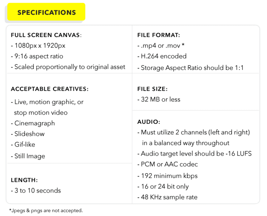 Snapchat Advertising - Specifications