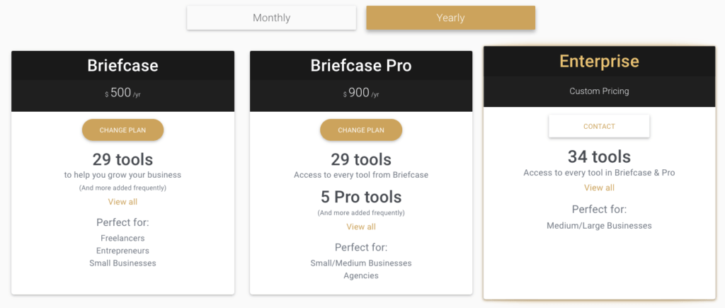 Briefcase Yearly Pricing Plans