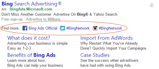 Bing Ads - Social Extensions