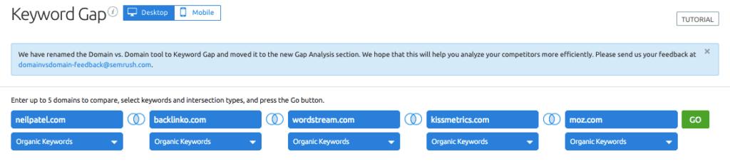 Keyword Gap - SEMrush