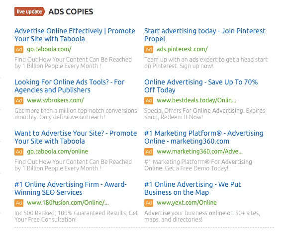 PPC Ad Copies - SEMrush