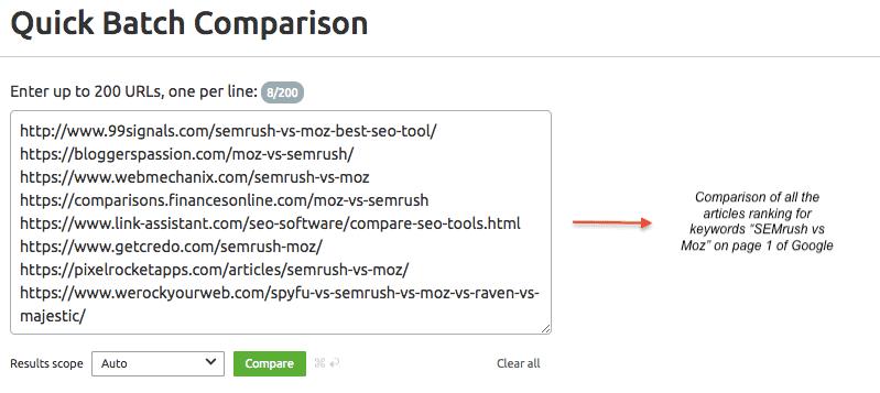Quick Batch Comparison - SEMrush