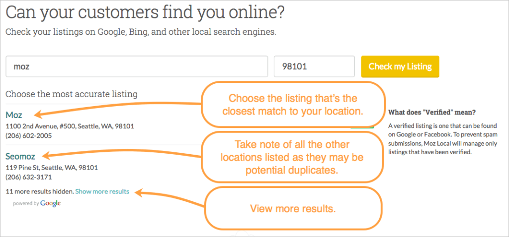 Moz Local - Check Your Listing