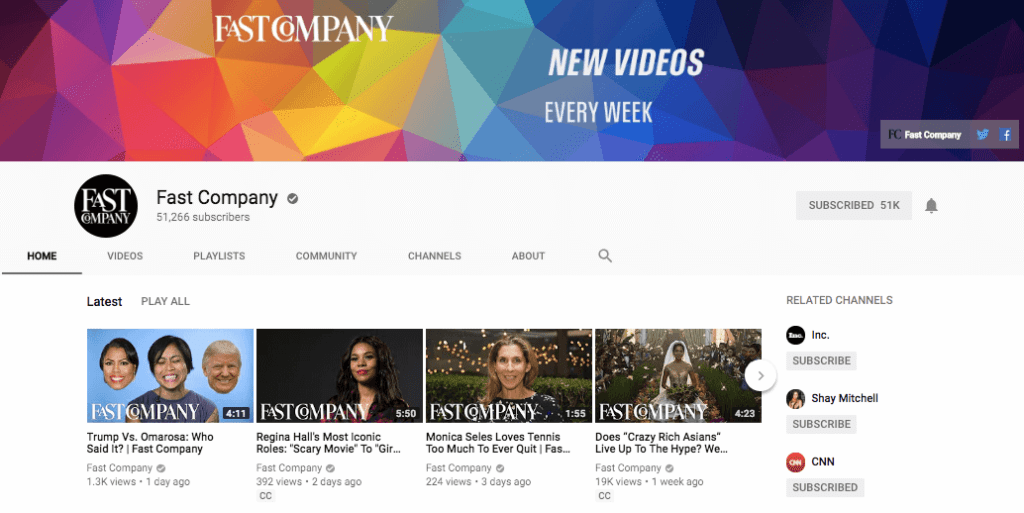 Fast Company on YouTube - Best YouTube Channels for Entrepreneurs