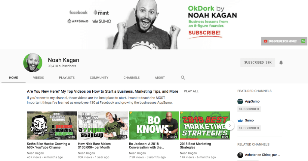 Noah Kagan's Channel on YouTube