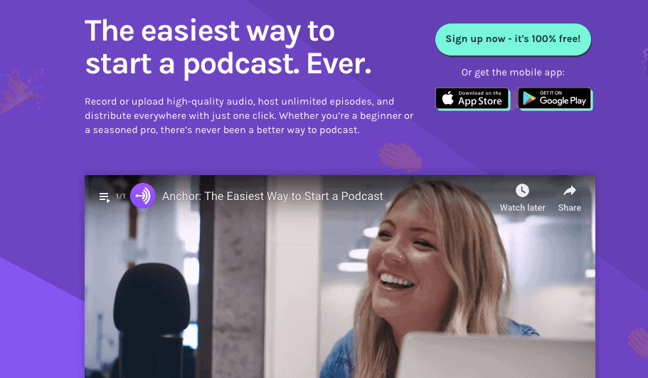 Anchor Podcasts - Anchor removes all the logistical barriers of podcasting, making it easy and fun without sacrificing the quality.