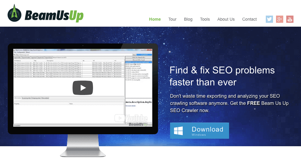 Beam Us Up is a free SEO crawling software which has smart filters built in to display the most common SEO errors you want to find during your site audit.