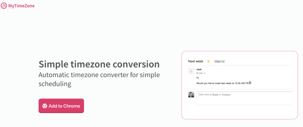MyTimeZone - MyTimeZone is a free browser extension that helps you convert time from one time zone to another.