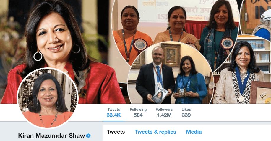 Kiran Shaw on Twitter